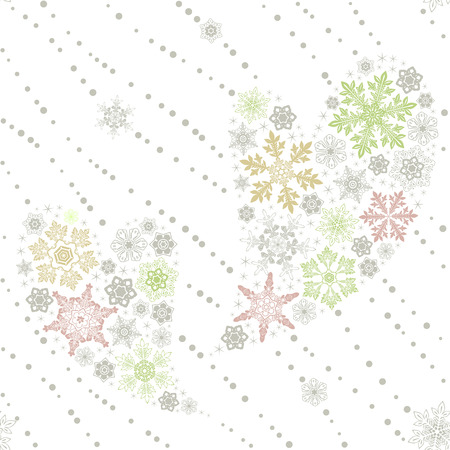 Seamless Christmas and Valentine's day snowflakes love pattern