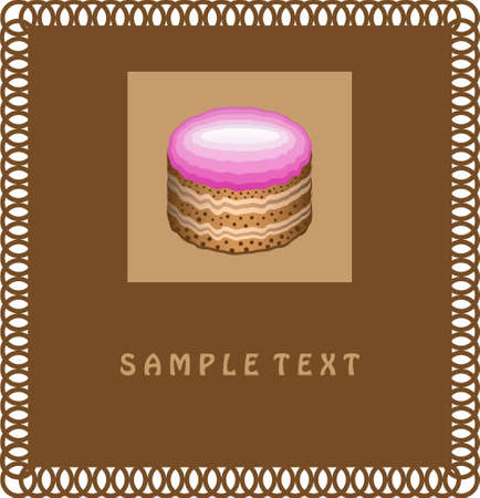 Card with Cake Vector