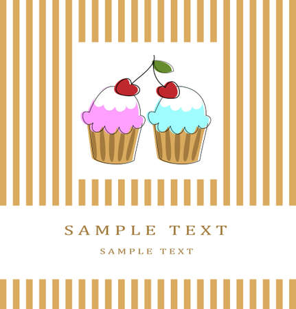 Card with two chery cupcakes Vector