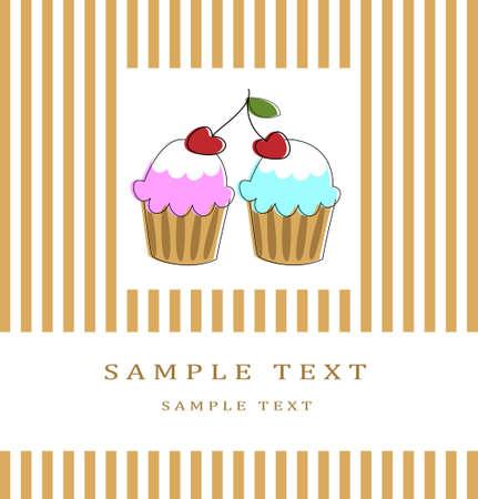 Kaart met twee chery cupcakes