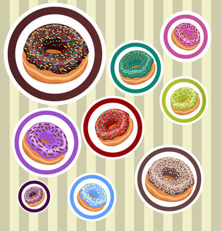 Circle Stickers with Donuts Vector