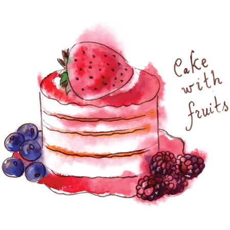 Watercolor cake with fruits Vector