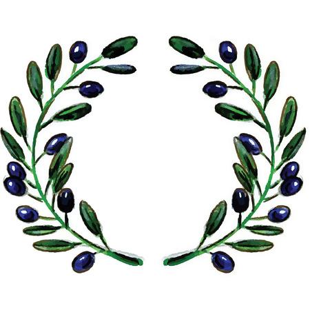 wreathe: Watercolor olive branch wreathe