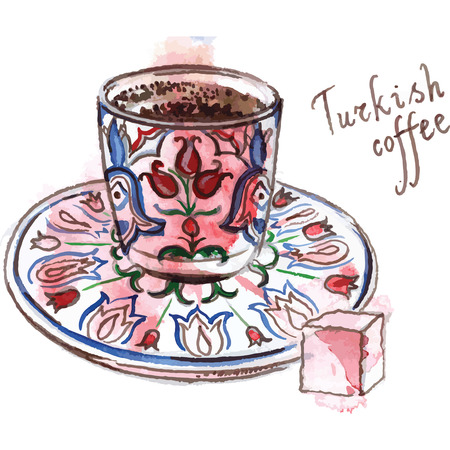 Watercolor of turkish coffee