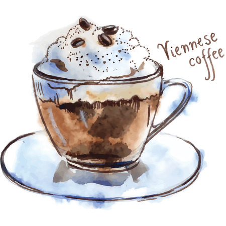 Watercolor of Viennese coffee Banco de Imagens - 40320076