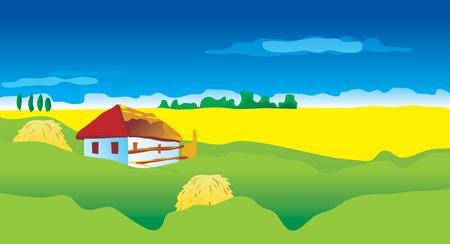 thatched: Ukranian landscape, vector