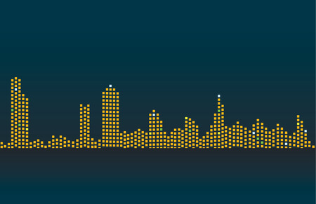 the night: Night city, river. Vector.