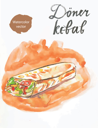 bread roll: Watercolor döner kebab, in English meat in pita bread, roll with meat Illustration