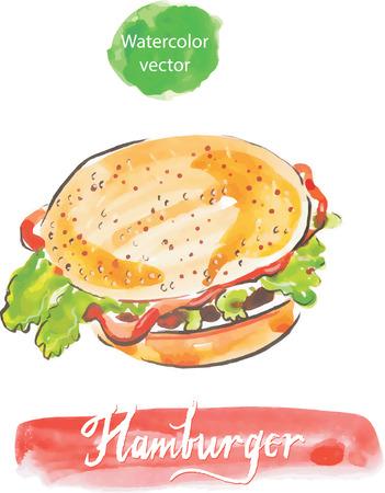 oversized: Watercolor hamburger, vector, hand drawn Illustration