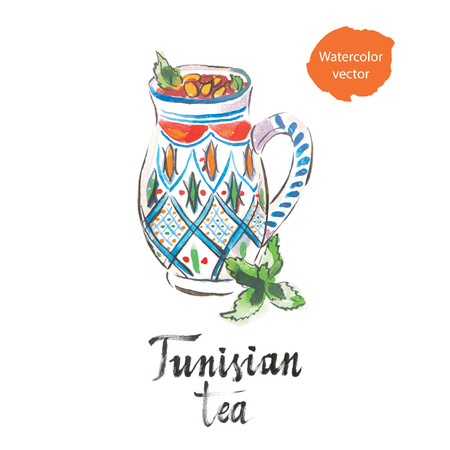 rosmarin: Tunisian tea with pine  nuts or almond, watercolor, hand drawn, vector