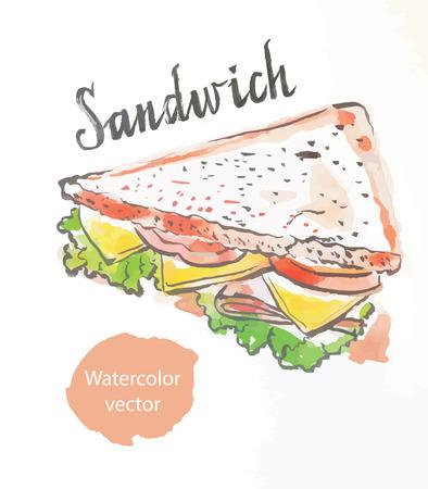 toasted sandwich: Triangular sandwich, watercolor, hand drawn, vector