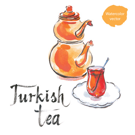morning tea: Turkish tea with turkish kettle, watercolor, hand drawn, vector Illustration