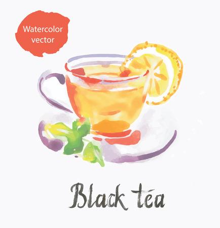 Black tea, watercolor, vector, hand drawn