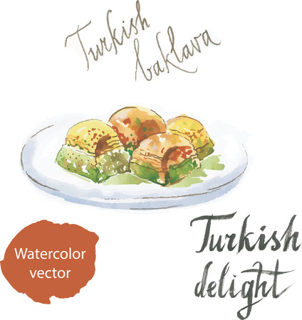 turkish dessert: Baklava watercolor turkish delight sweet vector. This dish is made from puff pastry Illustration