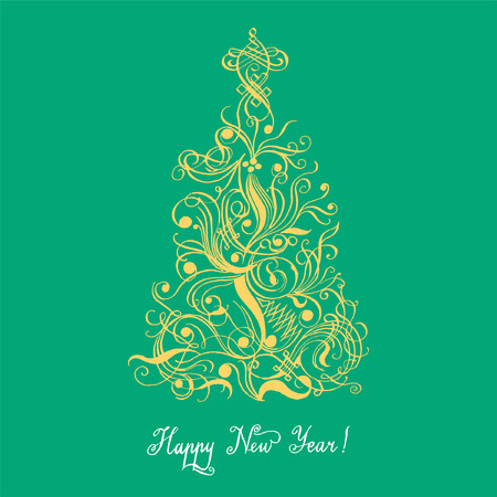christmass tree: Christmass tree vector calligraphy Spenser style and flourish