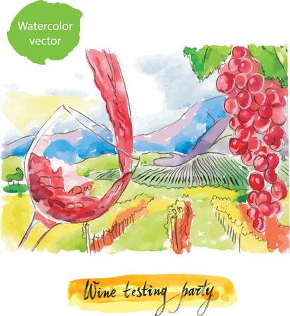 wine testing: Wine testing party watercolor vector Illustration