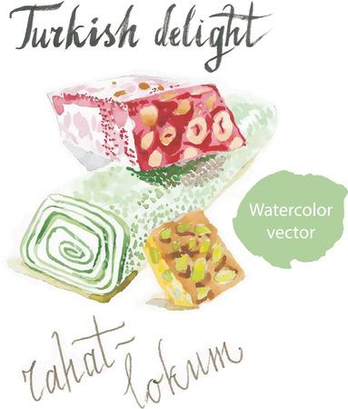 turkish dessert: Turkish rahatlokum watercolor turkish delight sweet vector