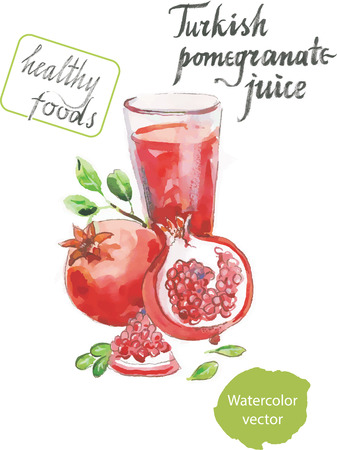 pomegranate juice: Turkish pomegranate juice watercolor healthy foods vector Illustration