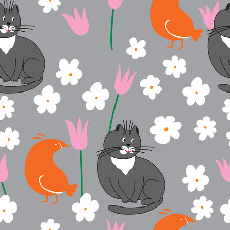 grey cat: Grey cat and orange bird with flowers. This is seamless pattern.