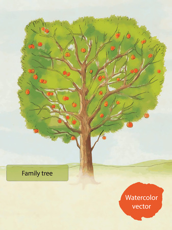 apple green: Watercolor family tree hand drawn vector