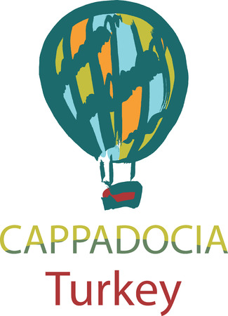 middle air: Hand drawn illustration of balloon in Cappadocia, region in Turkey Illustration