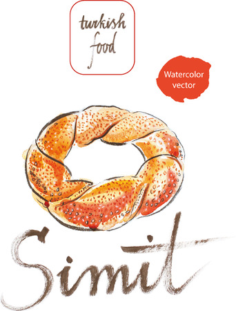 sesame seeds: Watercolor hand drawn bagel - vector Illustration. This word in Turkish means bagel with sesame seeds