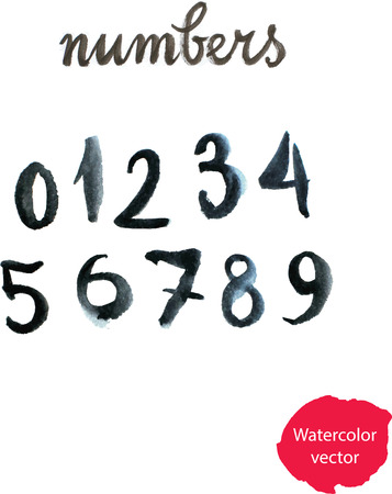 numbers abstract: Watercolor hand written black numbers. Vector illustration - Illustration