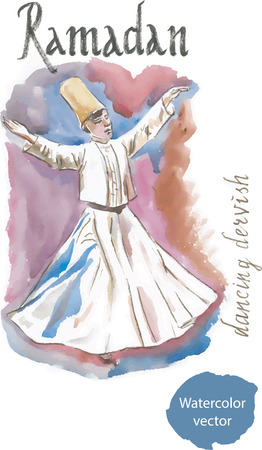 sufism: Dancing dervish watercolor, Ramadan, vector.