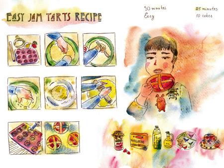 Easy jam tarts recipe Stock Photo