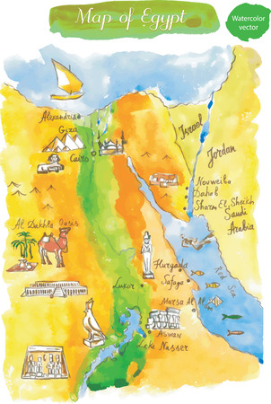 queen nefertiti: Map of attractions Egypt, watercolor, hand drawn