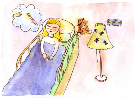 blanket fish: Girl in a bed