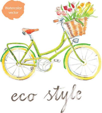 eco flowers basket: Watercolor hand drawn bicycle - vector Illustration