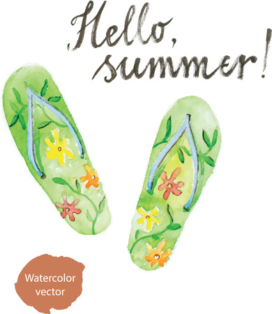 Watercolor hand drawn flip flops - vector Illustration