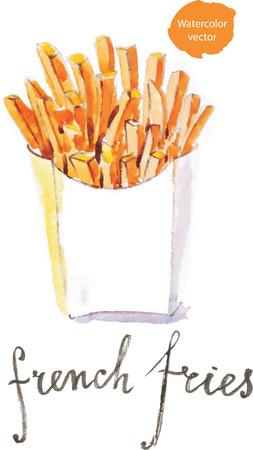 comida chatarra: Acuarela dibujado a mano las patatas fritas - vector Ilustración