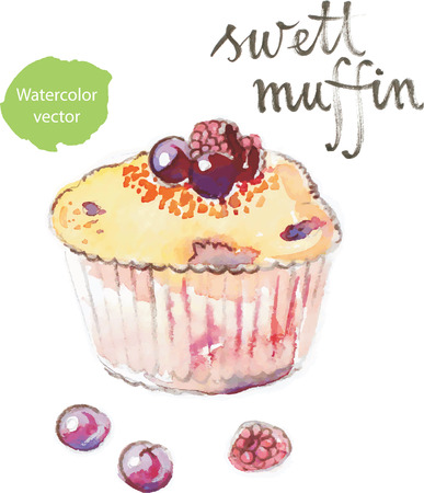 bramble: Watercolor hand drawn muffin with fruits - vector Illustration Illustration