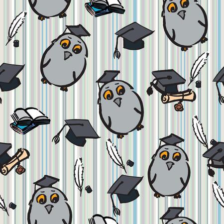 graduated: Hand drawn seamless pattern of graduation day - vector Illustration Illustration