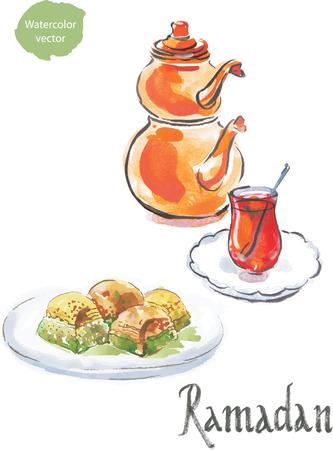 puff pastry: Ramadan and watercolor turkish tea with turkish baklava Stock Photo