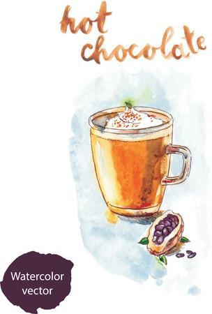 hot chocolate: Watercolor hand drawn hot chocolate - vector Illustration Stock Photo