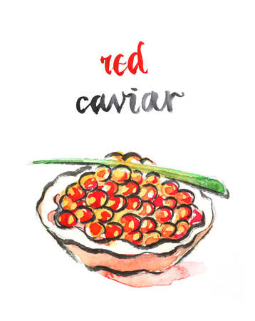 caviar: Watercolor hand drawn red caviar - vector Illustration