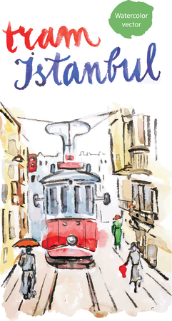 electric avenue: Watercolor hand drawn old red tram in Istanbul - vector Illustration