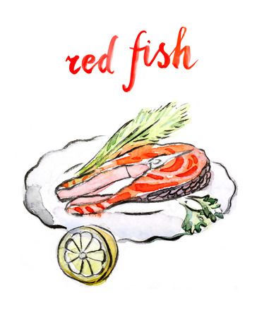 dill: Watercolor hand drawn red fish - vector Illustration Stock Photo