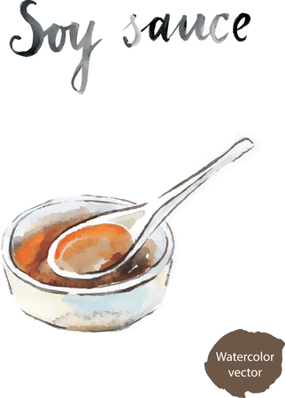 dipping: Watercolor hand drawn soy sauce - vector Illustration