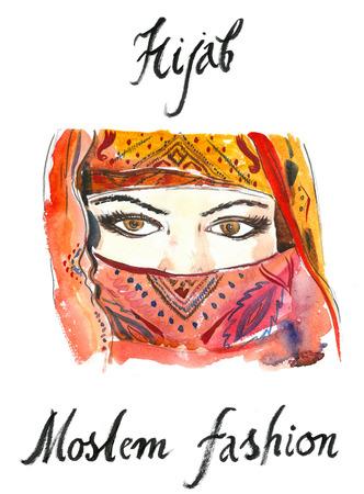 hijab: Arabian hijab, watercolor, hand drawn Illustration