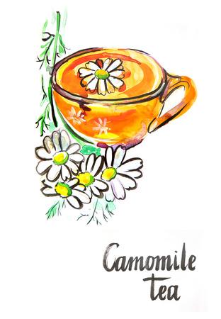chamomile tea: Watercolor hand drawn chamomile tea - Illustration Stock Photo