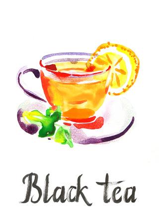black tea: Watercolor hand drawn black tea - Illustration