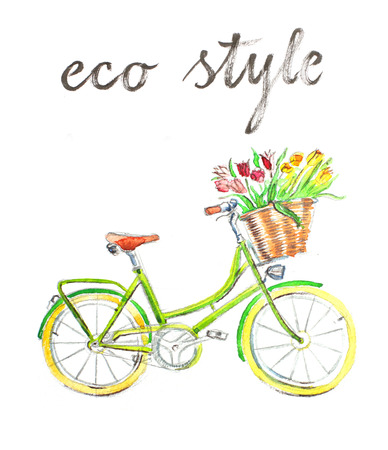 eco flowers basket: Watercolor hand drawn bicycle - Illustration Stock Photo