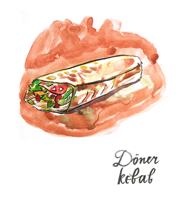 bread roll: Watercolor hand drawn Doner kebab, in English meat in pita bread, roll with meat - Illustration