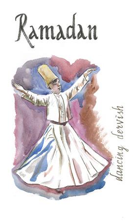 Watercolor hand drawn dancing dervish, Ramadan - Illustration