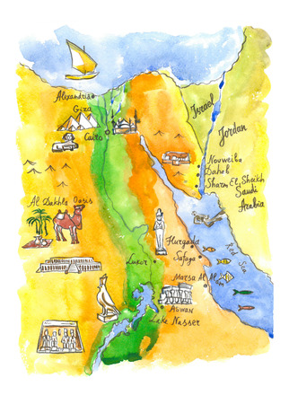 egyptian pyramids: Watercolor hand drawn map of attractions Egypt - Illustration