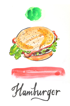 oversized: Watercolor hand drawn hamburger - Illustration Stock Photo